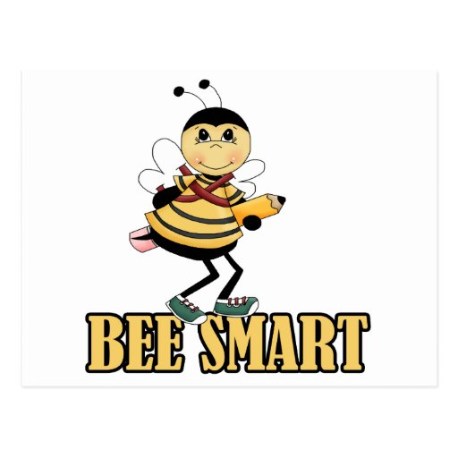 bee smart bumble bee with pencil post card