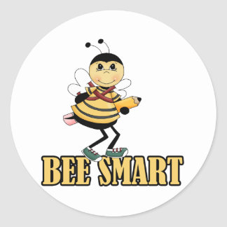 bee smart bumble bee with pencil round sticker