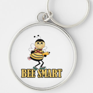 bee smart bumble bee with pencil Silver-Colored round key ring