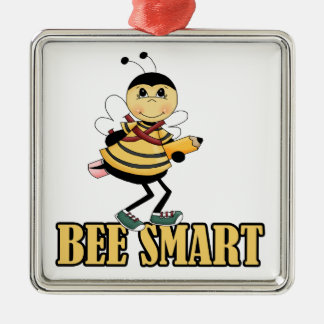 bee smart bumble bee with pencil Silver-Colored square decoration