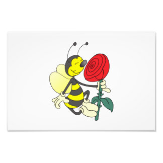 Bee smelling a rose cartoon art photo