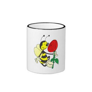 Bee Smelling Flower Coffee Mugs