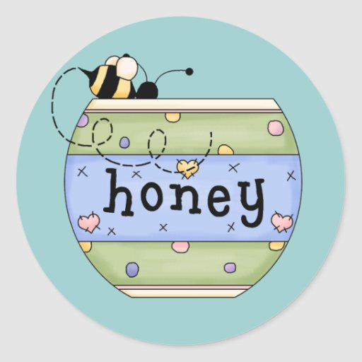 Bee Stealing from Honey Pot Round Stickers
