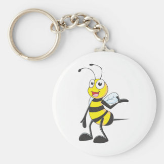 Bee Stickers : Bee Presenting with Hand Up Key Ring