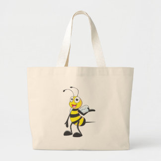 Bee Stickers : Bee Presenting with Hand Up Large Tote Bag
