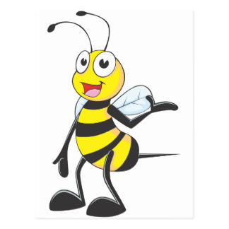 Bee Stickers : Bee Presenting with Hand Up Postcard