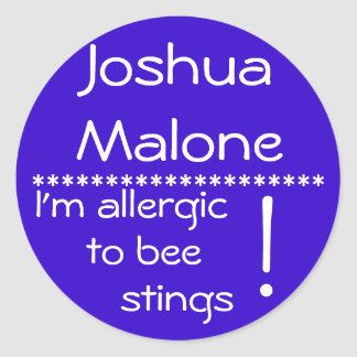 Bee sting Allergy Label Round Sticker