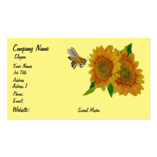 Bee Sunflowers Flowers Apiary Summer Pack Of Standard Business Cards