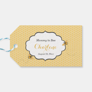 Bee Theme Honeycomb Gold & Gray Gift Tags