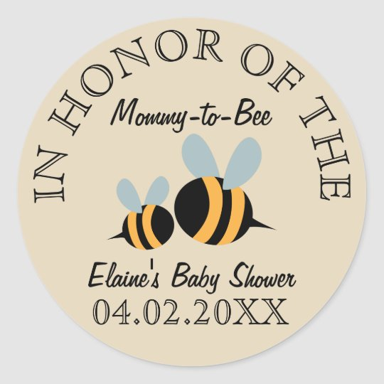 Bee Themed Baby Shower Stickers - Mummy-to-Bee
