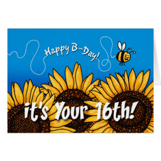 bee trail sunflower - 16 years old greeting cards