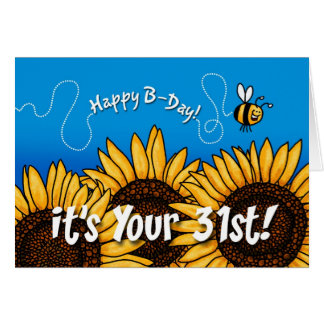 bee trail sunflower - 31 years old card