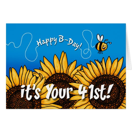 bee trail sunflower - 41 years old card