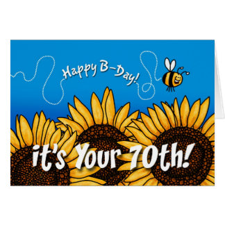 bee trail sunflower - 70 years old greeting card