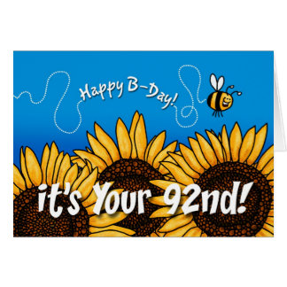bee trail sunflower - 92 years old card