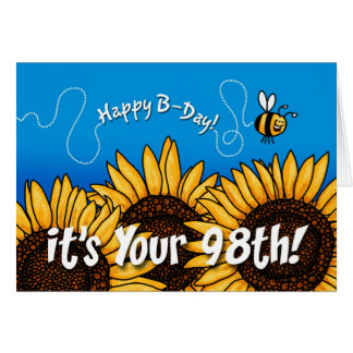 bee trail sunflower - 98 years old greeting card