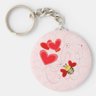 BEE VALENTINE HEARTS by SHARON SHARPE Keychain