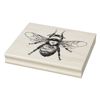 Bee Vintage Illustration Rubber Stamp