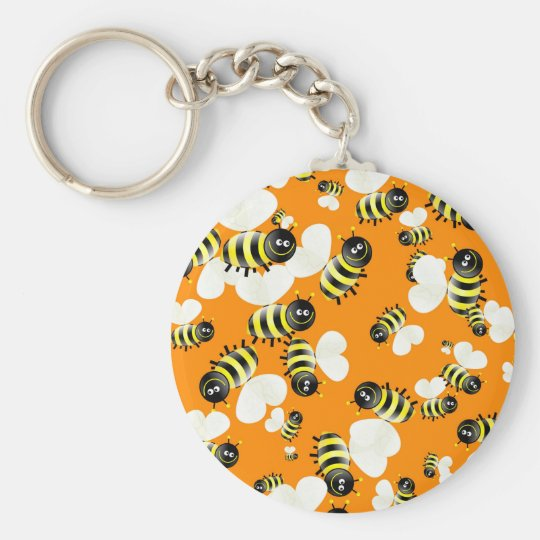 Bee Wallpaper Basic Round Button Key Ring
