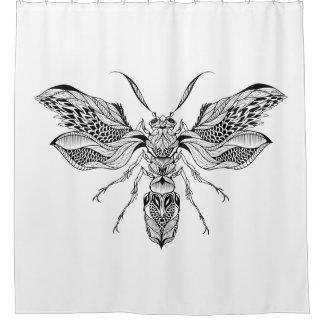 Bee-Wasp Tattoo Shower Curtain