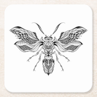 Bee-Wasp Tattoo Square Paper Coaster