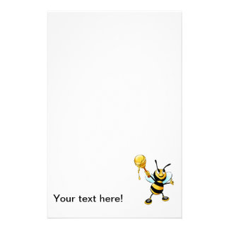 Bee with a honey spoon cartoon stationery design