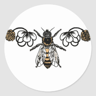 bee with clover classic round sticker