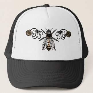 bee with clover trucker hat
