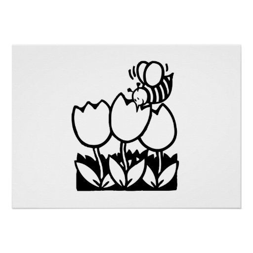 Bee with Flowers Print