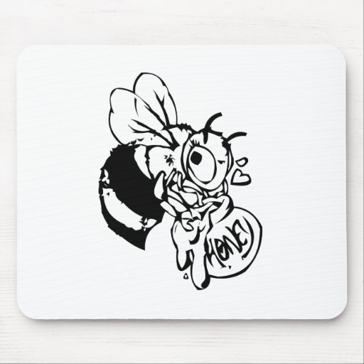 Bee with Honey Mouse Pads