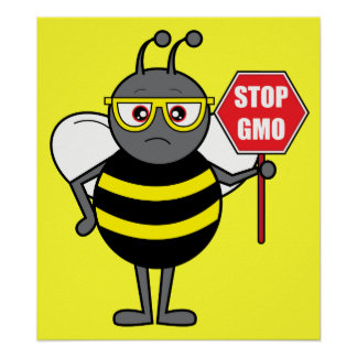 Bee with Stop Sign: GMO Poster