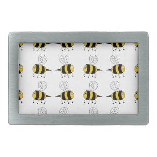 bee -  yellow rectangular belt buckle