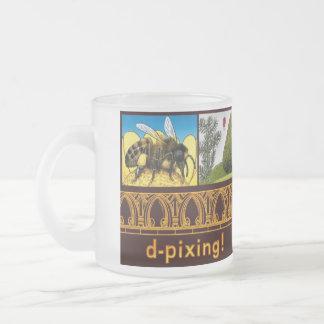 bee yew tea full frosted glass coffee mug