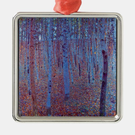 Beech Forest by Gustav Klimt Silver-Colored Square Decoration