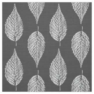 Beech Leaf Chalk Print, Gray / Grey and White Fabric