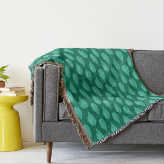 Beech Leaf Chalk Print, Turquoise and Aqua Throw Blanket
