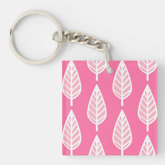 Beech leaf pattern - Florescent pink and white Double-Sided Square Acrylic Key Ring