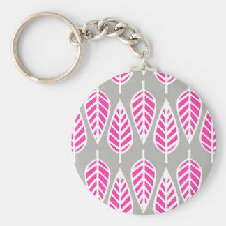 Beech leaf pattern - Fuchsia pink and silver Keychains