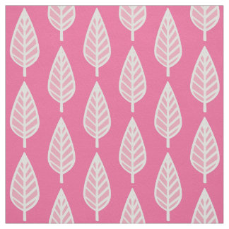 Beech leaf pattern - Hot pink and white Fabric