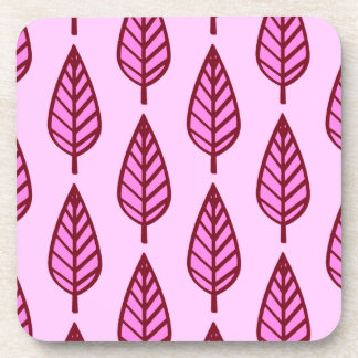 Beech leaf pattern - pink and burgundy beverage coasters