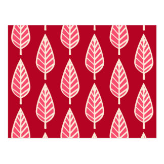 Beech leaf pattern - Ruby red and cream Postcards