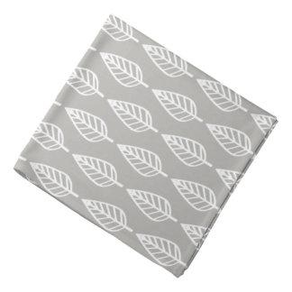 Beech leaf pattern - silver grey / gray and white bandana