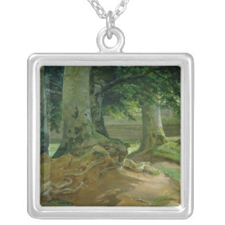 Beech Trees in Frederiksdal near Copenhagen Silver Plated Necklace