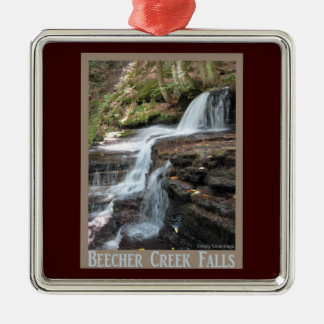 Beecher Creek Falls Square Metal Christmas Ornament