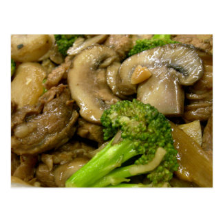 Beef, broccoli & mushroom stir fry postcard