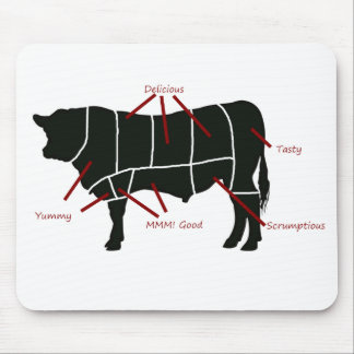 Beef Butcher Chart - Tasty Delicious Yummy Beef! Mouse Pad