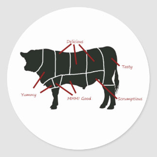 Beef Butcher Chart - Tasty Delicious Yummy Beef! Round Sticker