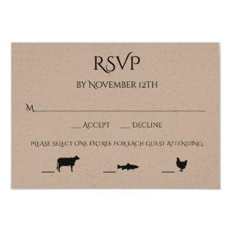 Beef Fish Chicken 3 Entree Choice Wedding RSVP Card