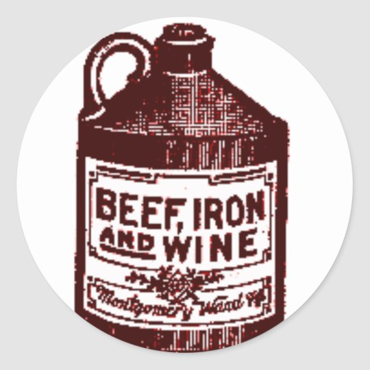 Beef, iron and wine classic round sticker