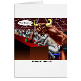 Beef Jerky Origins Funny Cow & Bull Cartoon Gifts Greeting Card